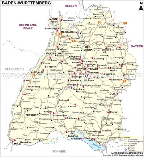 Baden Württemberg Landkarte